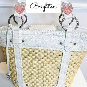 Brighton Straw White Leather Floral Handbag